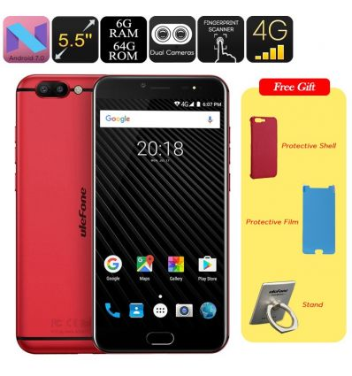 Ulefone T1 Android Smartphone - Android 7 0, MTK Helio P25 CPU, 6GB RAM,  1080p Display, 16MP Cam, Dual IMEI (Red)